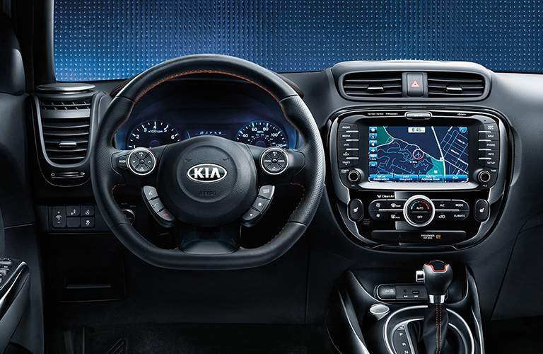 steering wheel and UVO3 infotainment in the 2018 Kia Soul