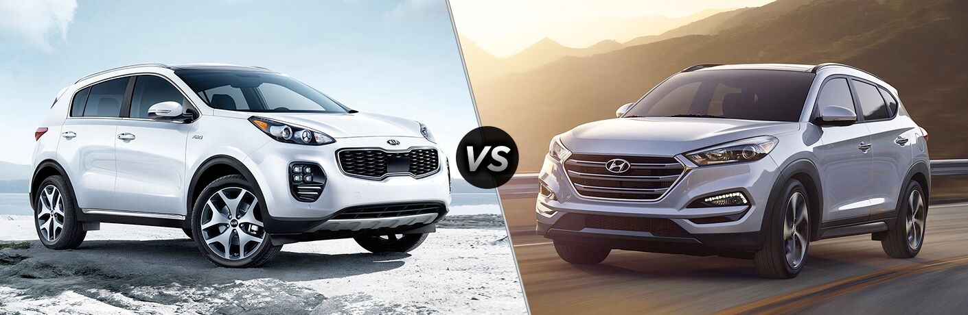 nose to nose comparison image of the 2018 Kia Sportage and 2018 Hyundai Tucson