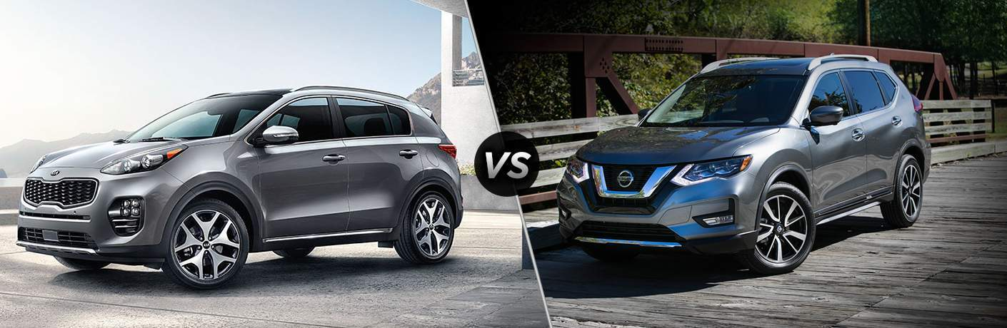 a comparison image between a 2018 Kia Sportage and a 2018 Nissan Rogue in silver