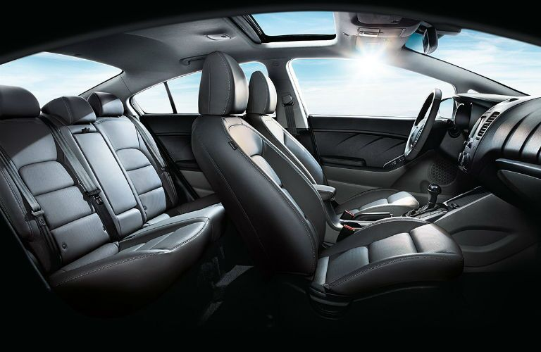 interior and seats of the 2018 Kia Forte with a sunroof