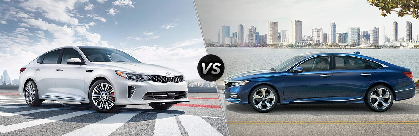 white 2018 Kia Optima and a blue 2018 Honda Accord in the same comparison image
