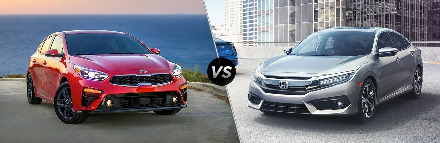 "Red 2019 Kia Forte and silver Honda Civic separated by a diagonal line and a ""VS"" logo."