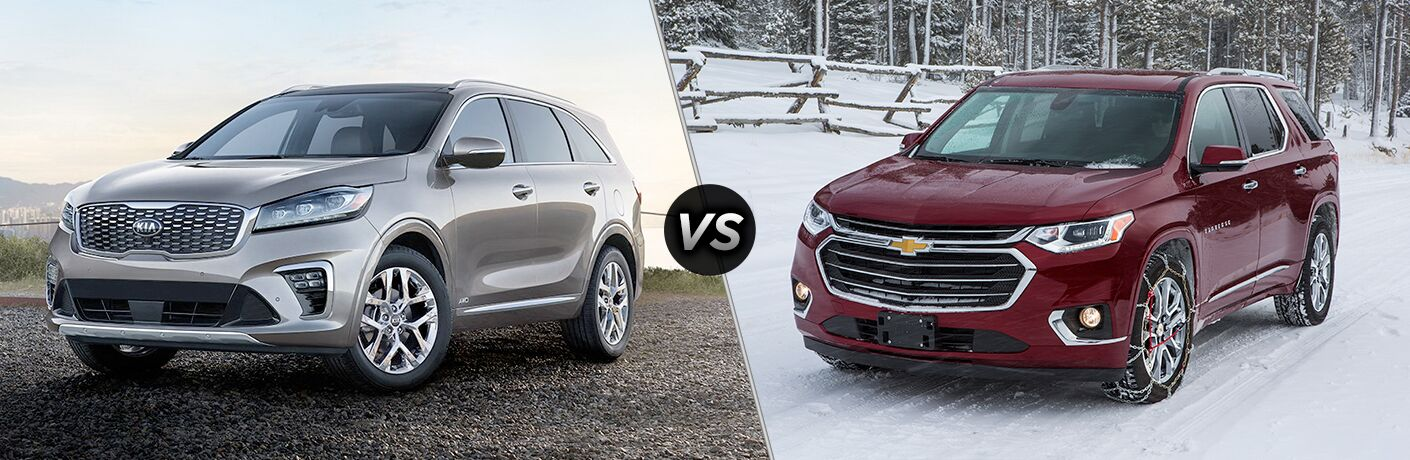 "2019 Kia Sorento and 2019 Chevrolet Traverse, separated by a diagonal line and ""VS"" logo."