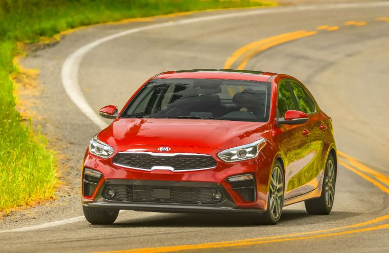 A head-on photo of the 2020 Kia Forte on the road.