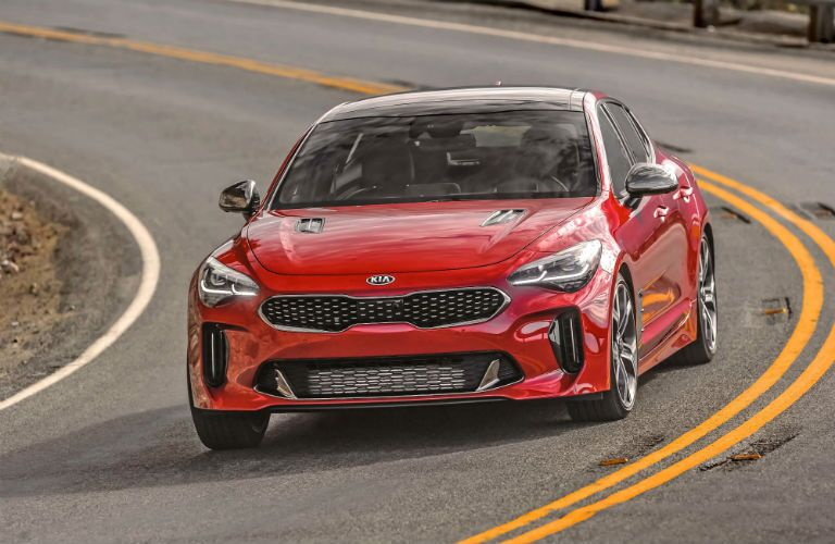 A head-on photo of the 2021 Kia Stinger on the road.