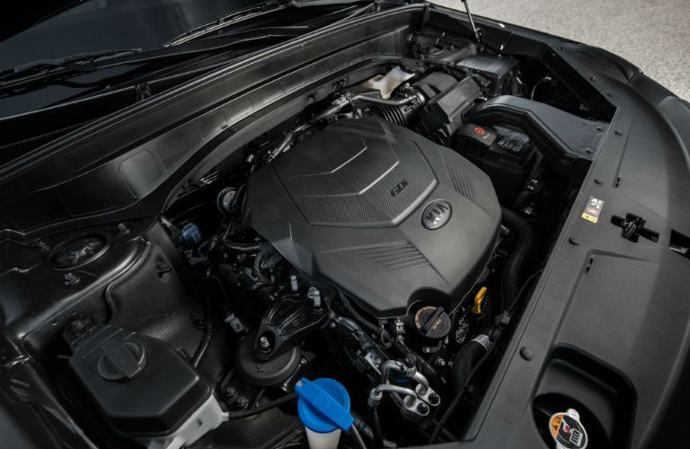 A photo of the engine used by the 2020 Kia Telluride.