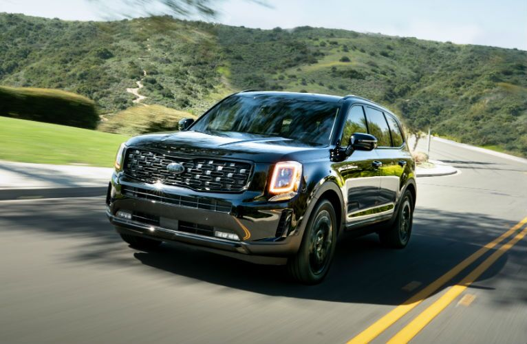 A photo of the 2021 Kia Telluride on the road.