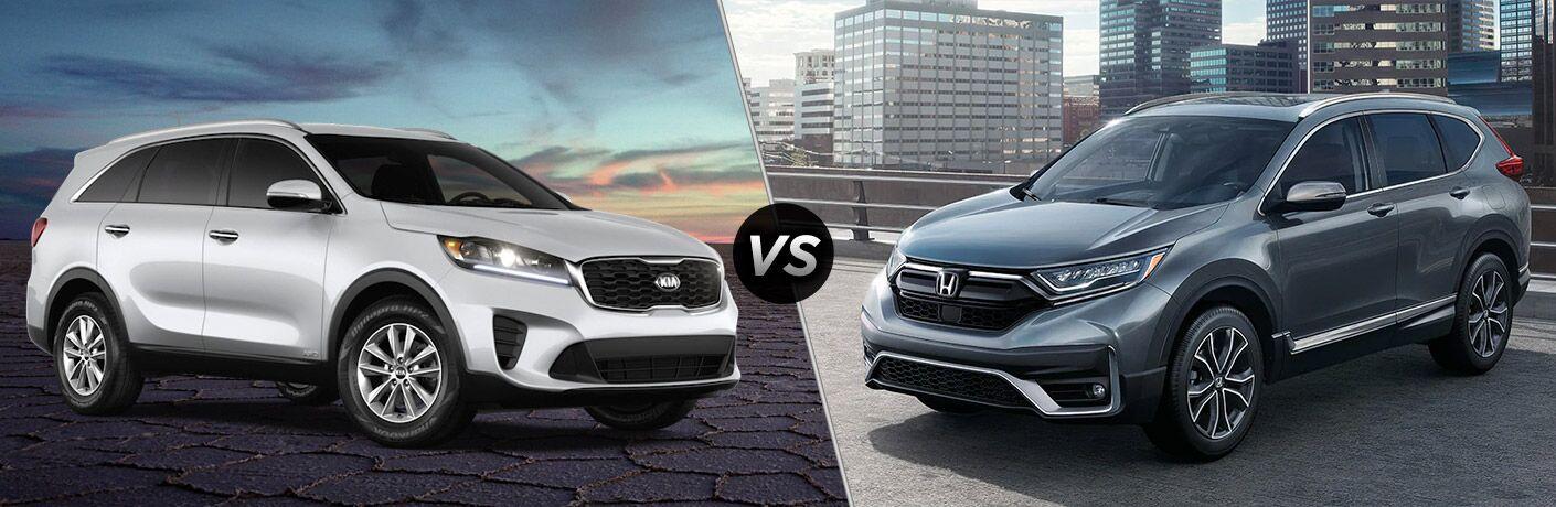 A side-by-side comparison of the 2020 Kia Sorento vs. 2020 Honda CR-V.