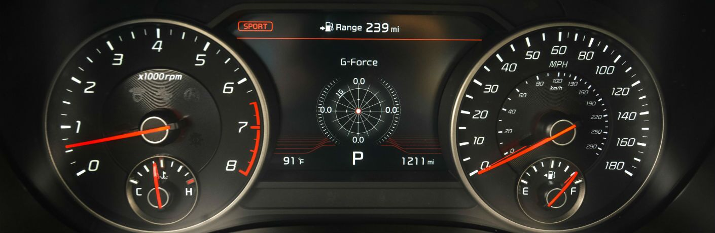 A photo of the center gauge cluster in the 2020 Kia Stinger.
