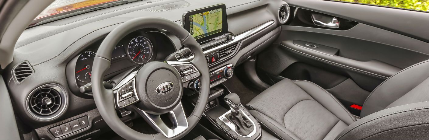 A photo of the dashboard in the 2021 Kia Forte.