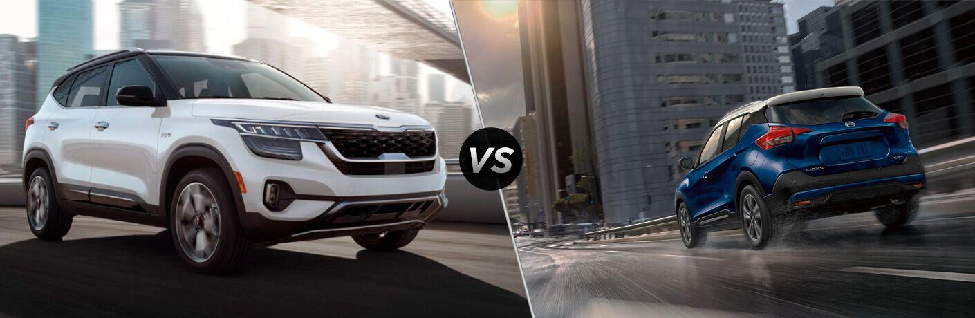 A side-by-side comparison of the 2021 Kia Seltos vs. 2020 Nissan Kicks.
