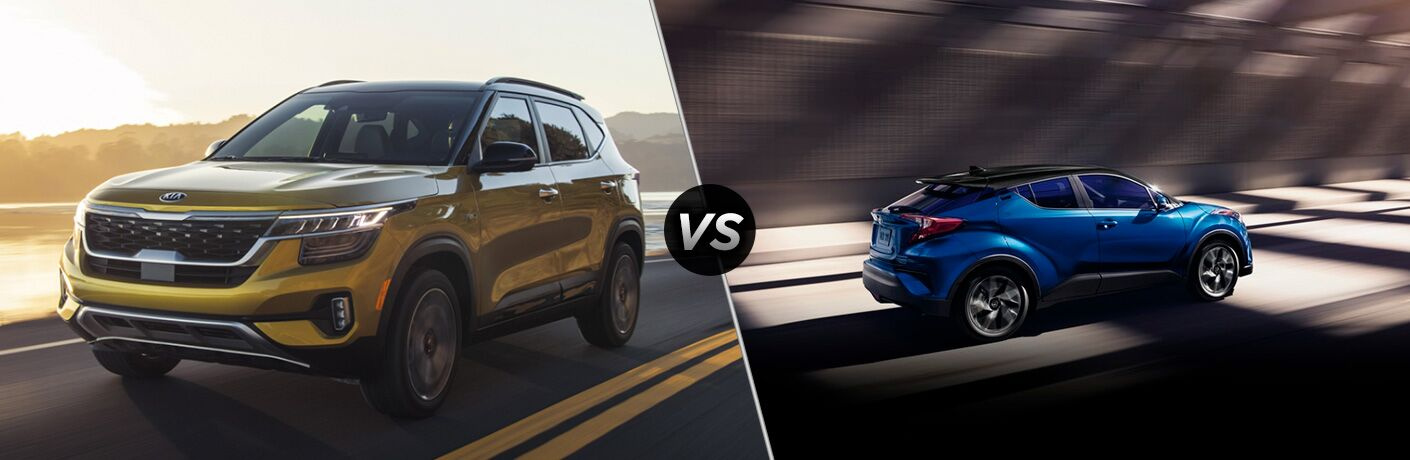 A side-by-side comparison of the 2021 Kia Seltos vs. 2020 Toyota C-HR.