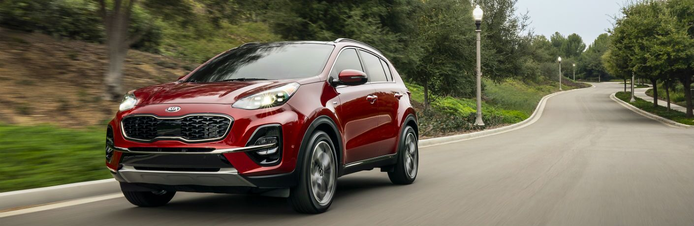 A photo of the 2021 Kia Sportage on the road.