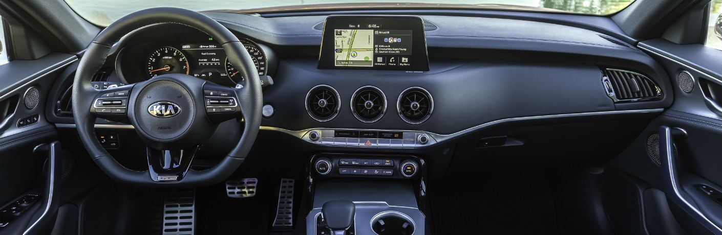 A photo of the dashboard in the 2021 Kia Stinger.