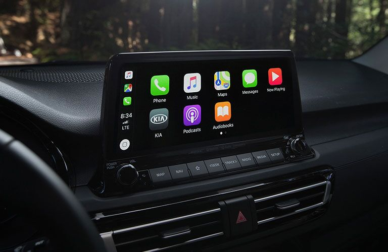 A photo of the touchscreen interface in the 2021 Seltos.