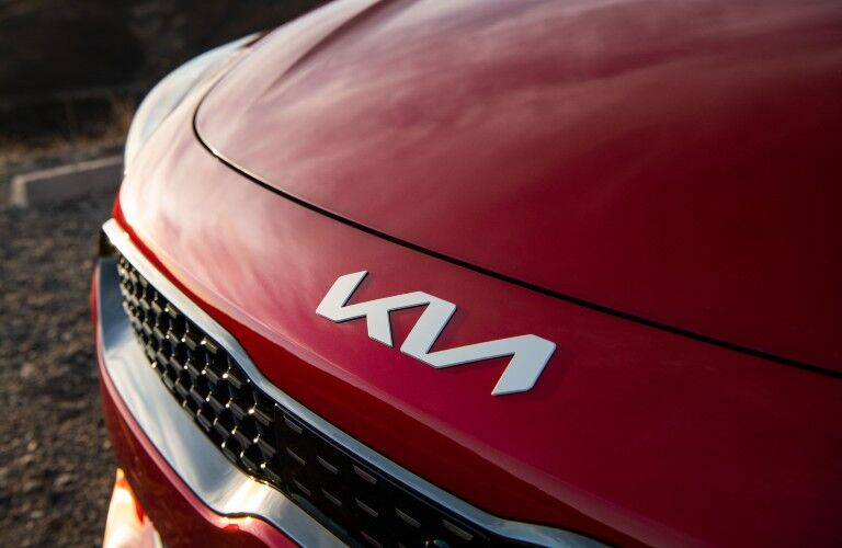 A photo of the nose and new Kia badge used by the 2022 Kia Stinger.
