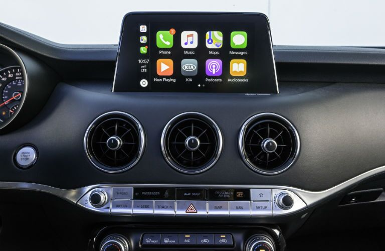 A photo of the touchscreen interface used in the 2021 Kia Stinger.