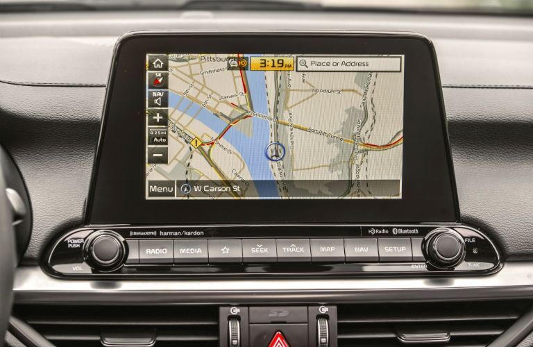 A photo of the touchscreen showing navigation functionality in the 2020 Kia Forte.