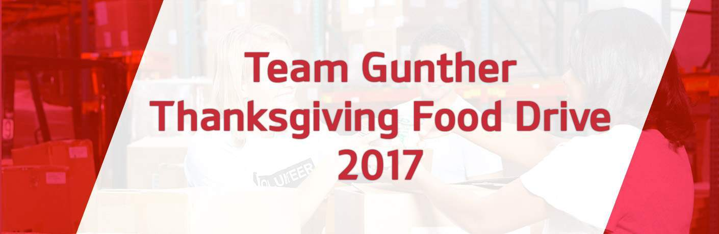 Team Gunther Kia Thanksgiving Food Drive 2017 in red and white, faint image of a food drive in the background