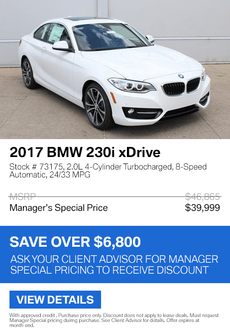 Save over $6,800 on this 2017 BMW 230i xDrive.