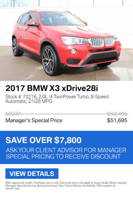 Save over $7,800 on this 2017 BMW X3 xDrive28i.