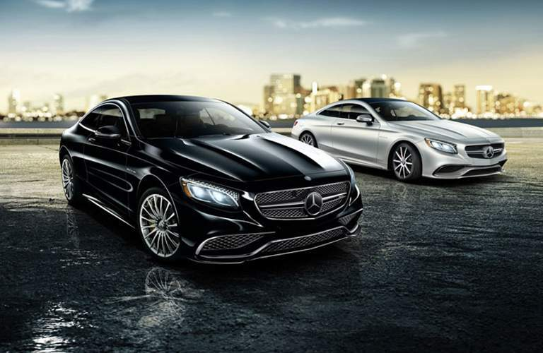 a black 2018 Mercedes-Benz S-Class Coupe and a silver 2018 Mercedes-Benz S-Class Coupe