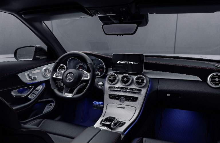 2018 Mercedes-Benz C-Class Coupe front interior driver dash and infotainment system