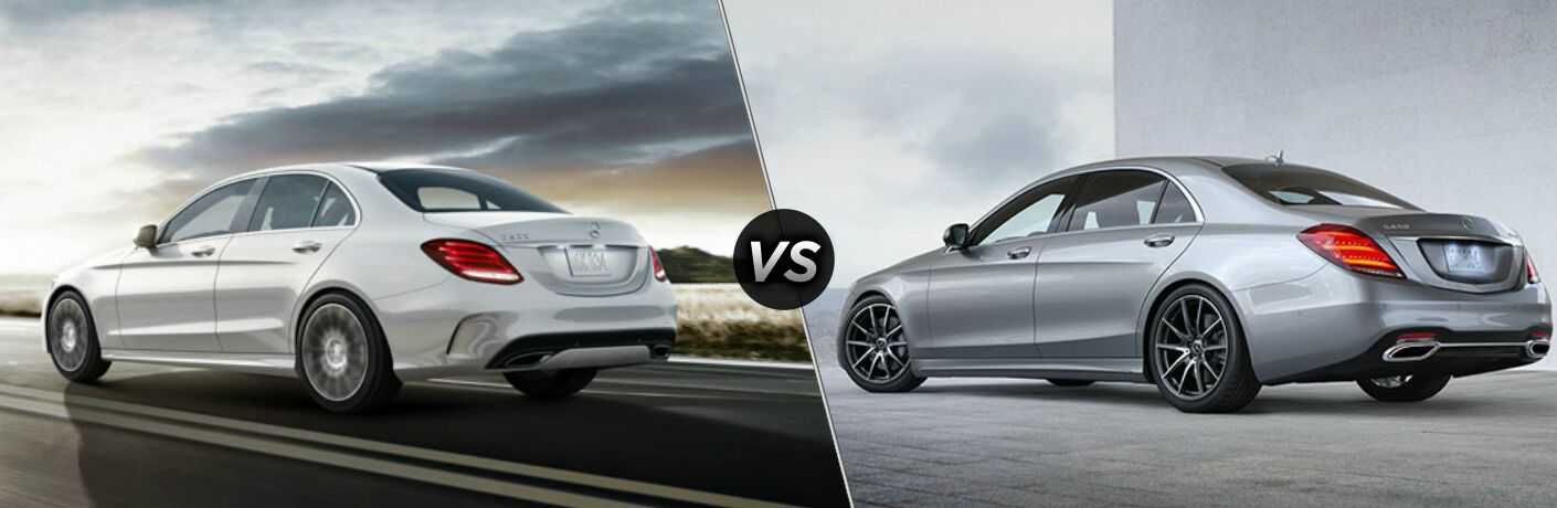 White 2018 Mercedes-Benz C-Class and silver 2018 Mercedes-Benz S-Class side by side