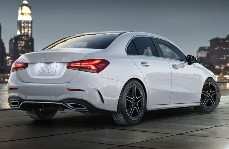 Rear side view of a white 2019 Mercedes-Benz A-Class