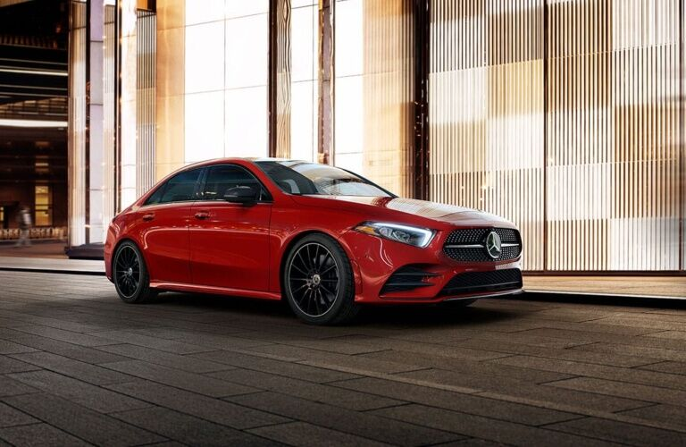 Side view of a red 2019 Mercedes-Benz A-Class