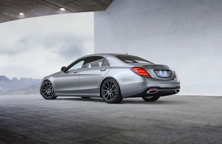 Side view of a silver 2019 Mercedes-Benz S-Class