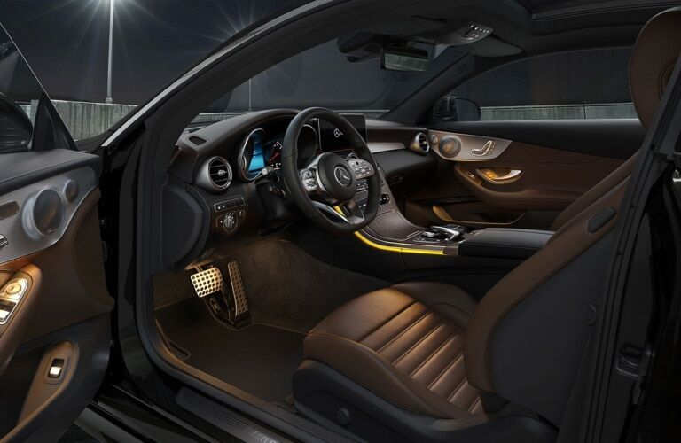 Front seat interior of the 2020 Mercedes-Benz C-Class Coupe