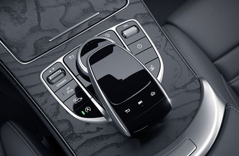 Center console of the 2019 Mercedes-Benz C-Class Coupe