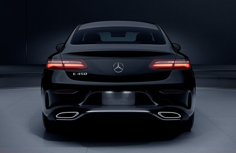 Rear view of a black 2019 Mercedes-Benz E-Class Coupe