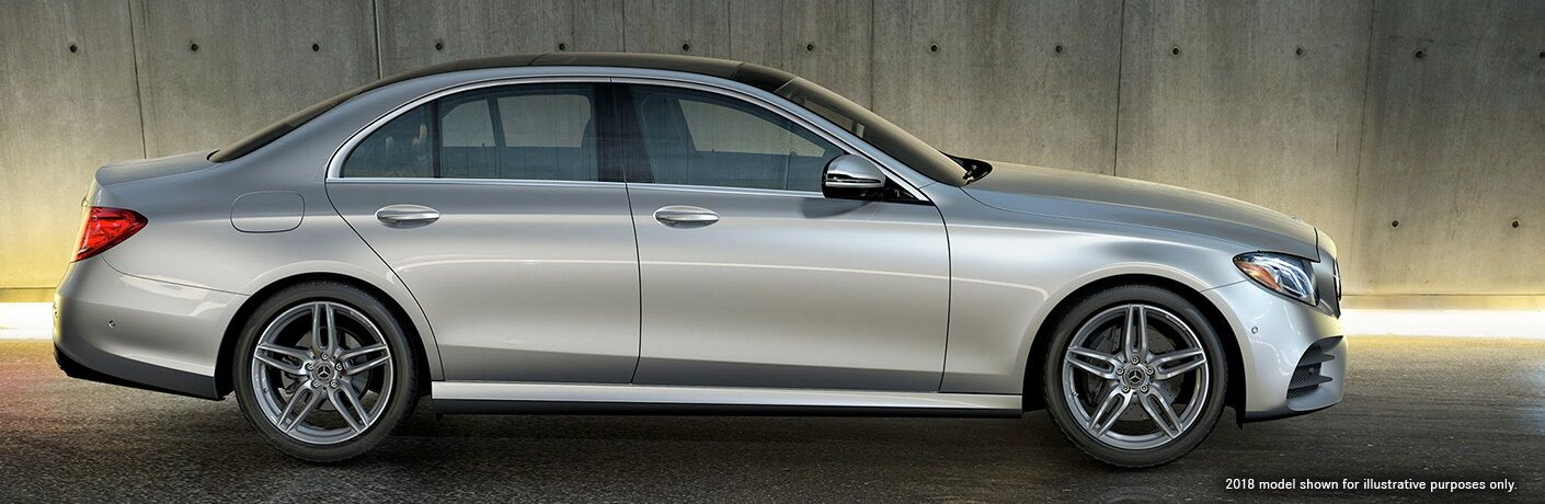 Side view of a silver 2018 Mercedes-Benz E-Class