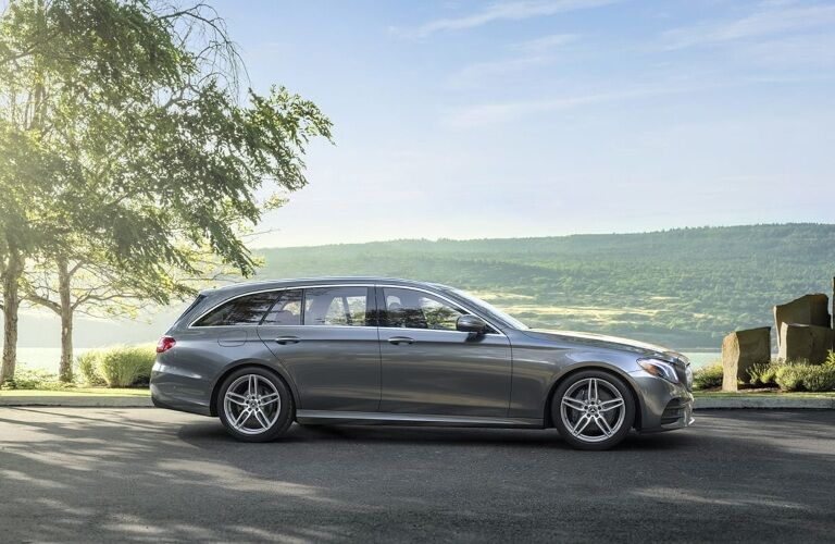 Side view of a silver 2019 Mercedes-Benz E-Class Wagon