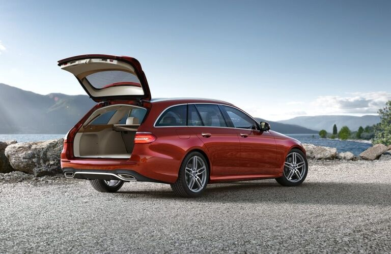 Red 2019 Mercedes-Benz E-Class Wagon with the trunk open