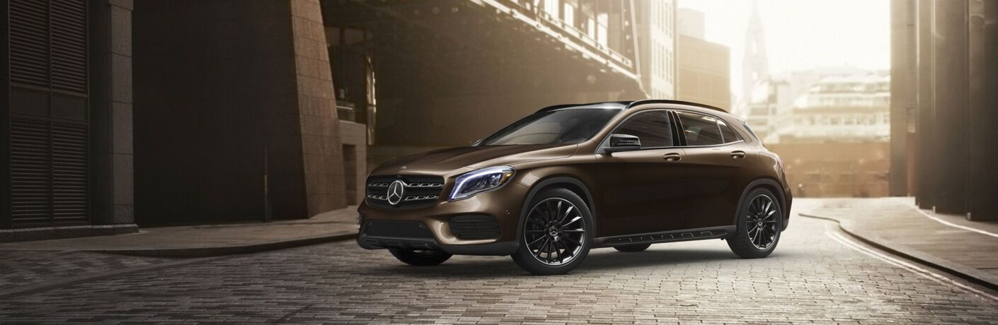 Bronze 2019 Mercedes-Benz GLA parked in city street