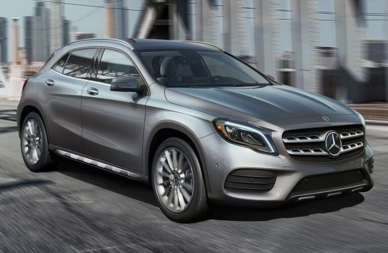 2019 Mercedes-Benz GLA driving over bridge