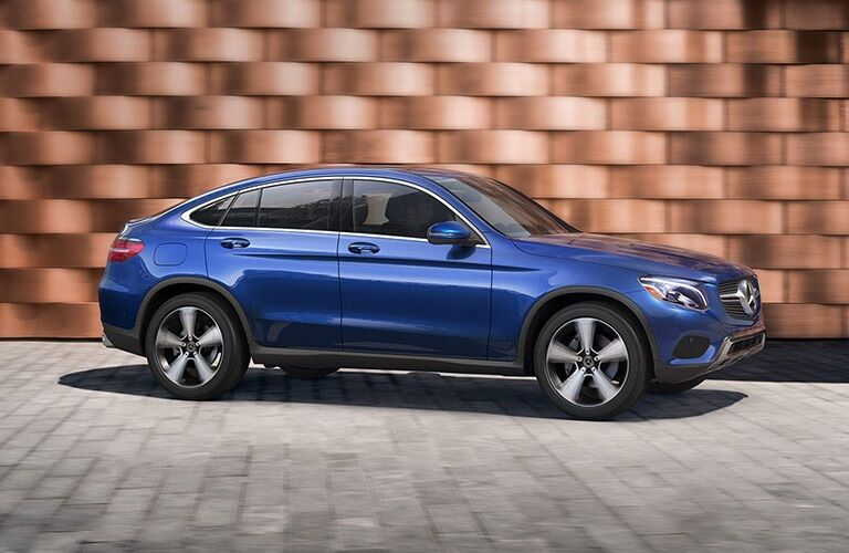 Side view of a blue 2019 Mercedes-Benz GLC Coupe