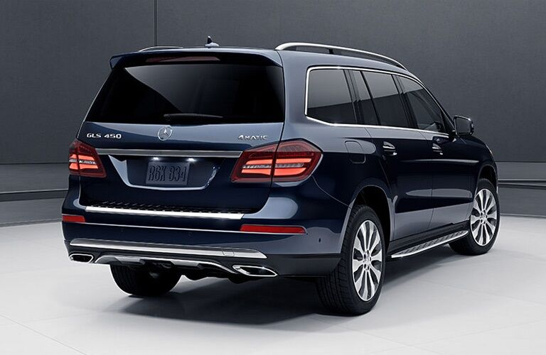 Rear view of a blue 2019 Mercedes-Benz GLS