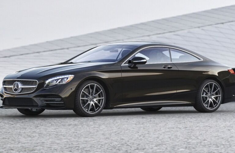 Left side of a black 2019 Mercedes-Benz S-Class Coupe