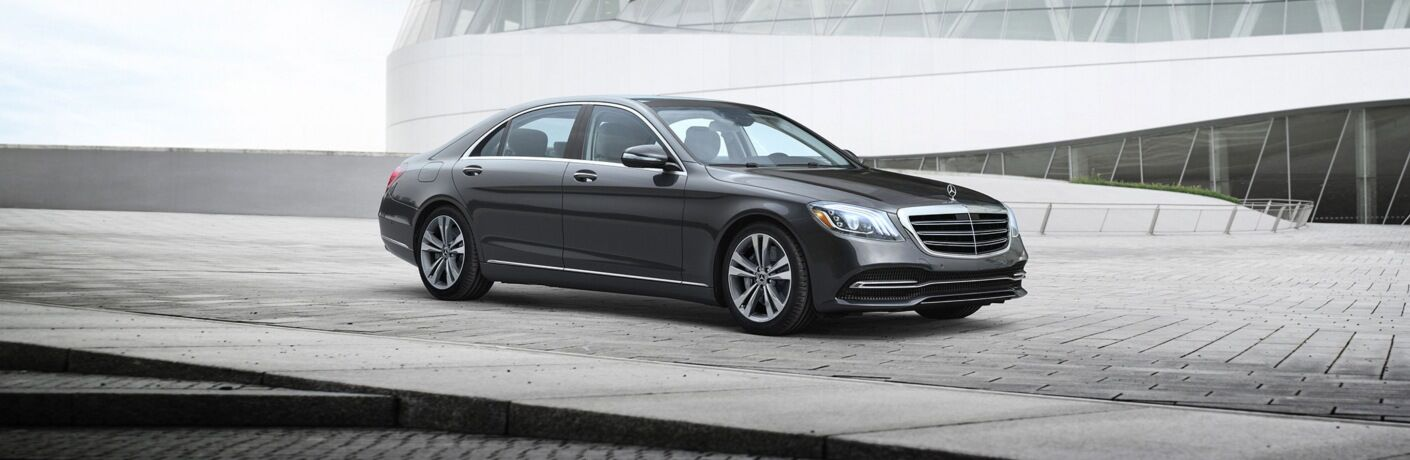 Side view of a black 2019 Mercedes-Benz S-Class