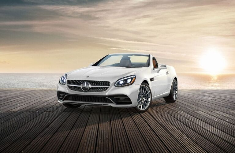 White 2019 Mercedes-Benz SLC parked on dock