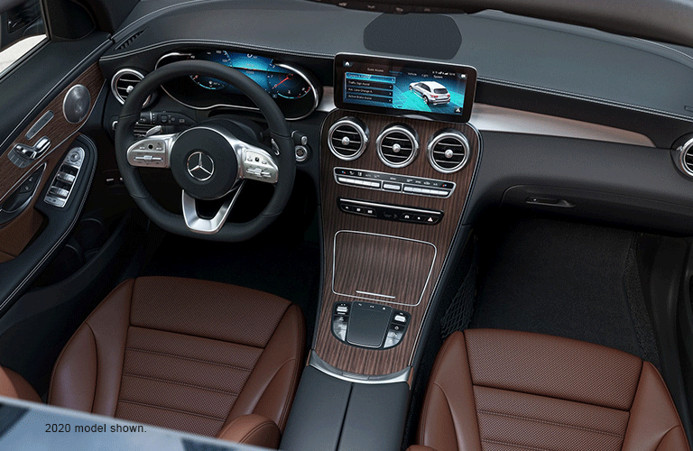 Interior front row and driver area of the 2020 Mercedes-Benz GLC