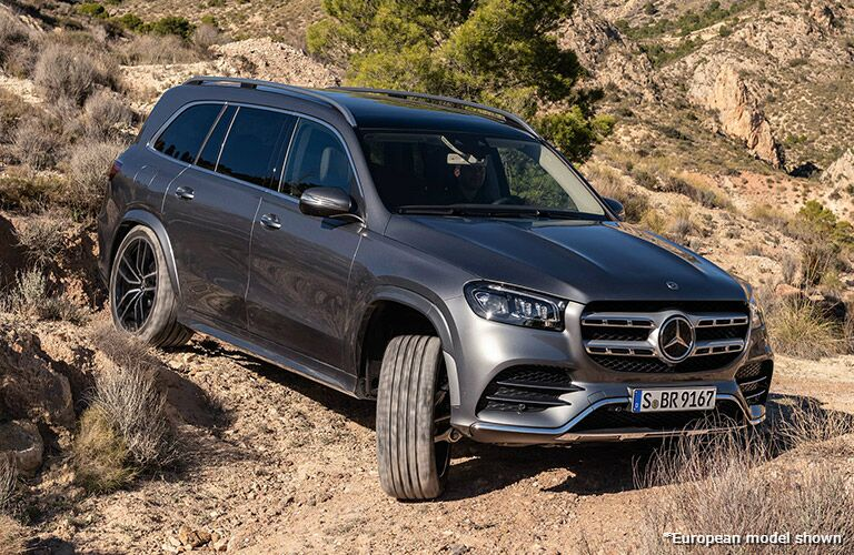 2020 Mercedes-Benz GLS driving on a dirt road