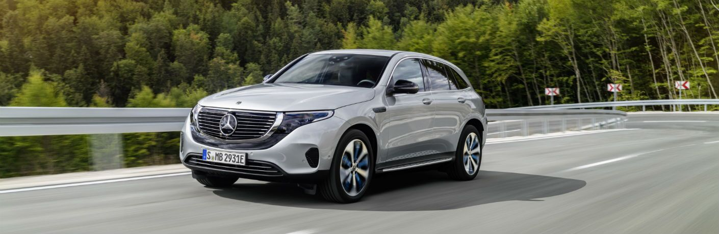 Driver side exterior view of a gray 2020 Mercedes-Benz EQC