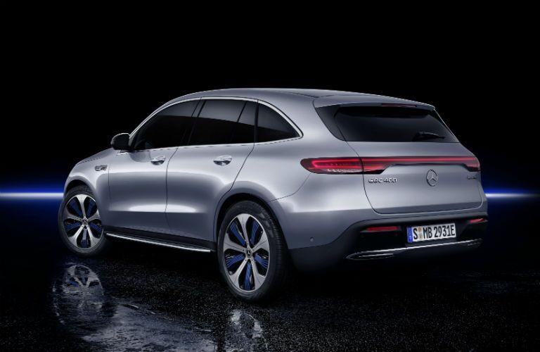Rear exterior view of a gray 2020 Mercedes-Benz EQC