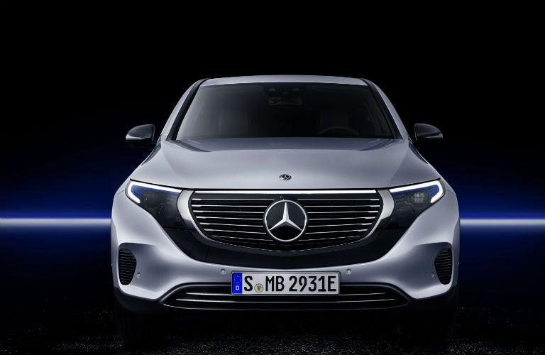 Front exterior view of a gray 2020 Mercedes-Benz EQC