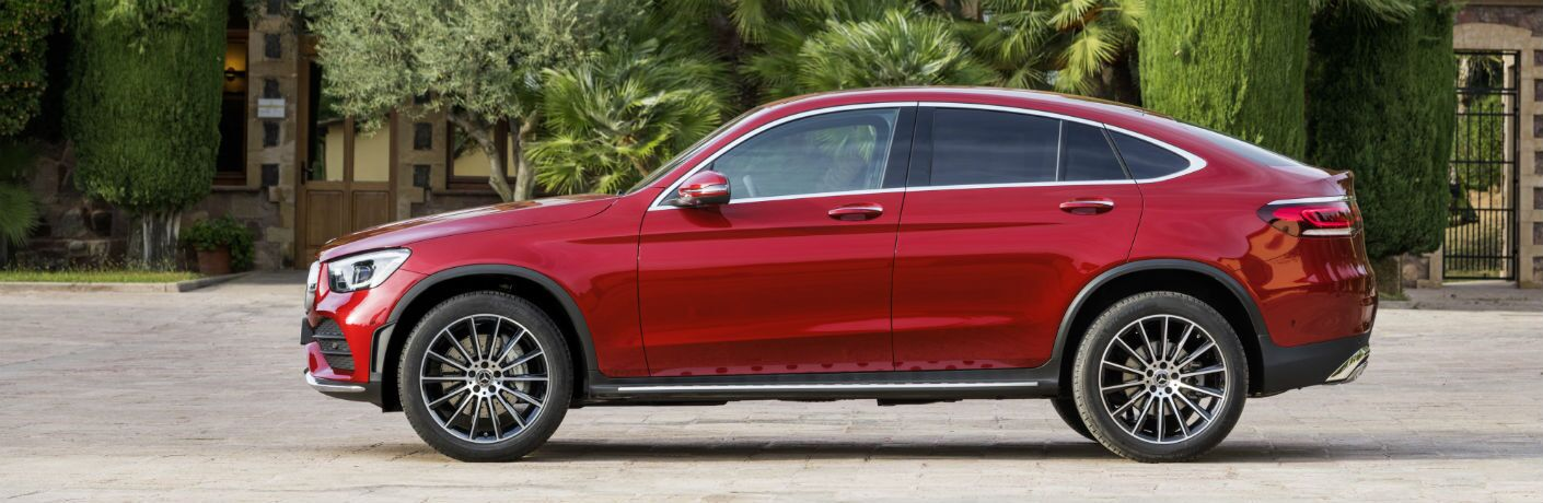 2020 MB GLC Coupe exterior drivers side profile in front of trees